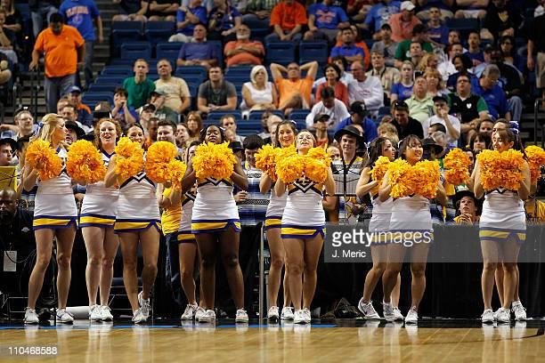 Cheerleaders from the UC Santa Barbara Gauchos perform against the Florida Gators during the second round of the 2011 NCAA men's basketball...