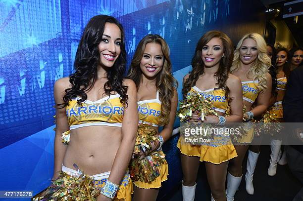 Cheerleaders get ready for Game One of the 2015 NBA Finals between the Golden State Warriors and the Cleveland Cavaliers on June 4 2015 at Oracle...