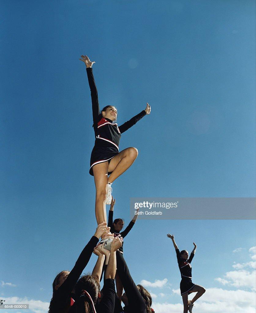 Cheerleaders in Formation : Stock Photo