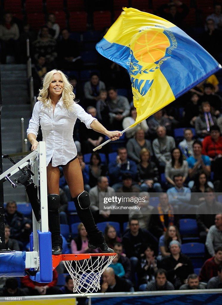 A cheerleaders of BC Khimki Moscow Region shows support for her team during the 2012-2013 Turkish Airlines Euroleague Top 16 Date 8 between BC Khimki Moscow Region v Besiktas JK Istanbul at Basketball Center of Moscow on February 22, 2013 in Moscow, Russia.