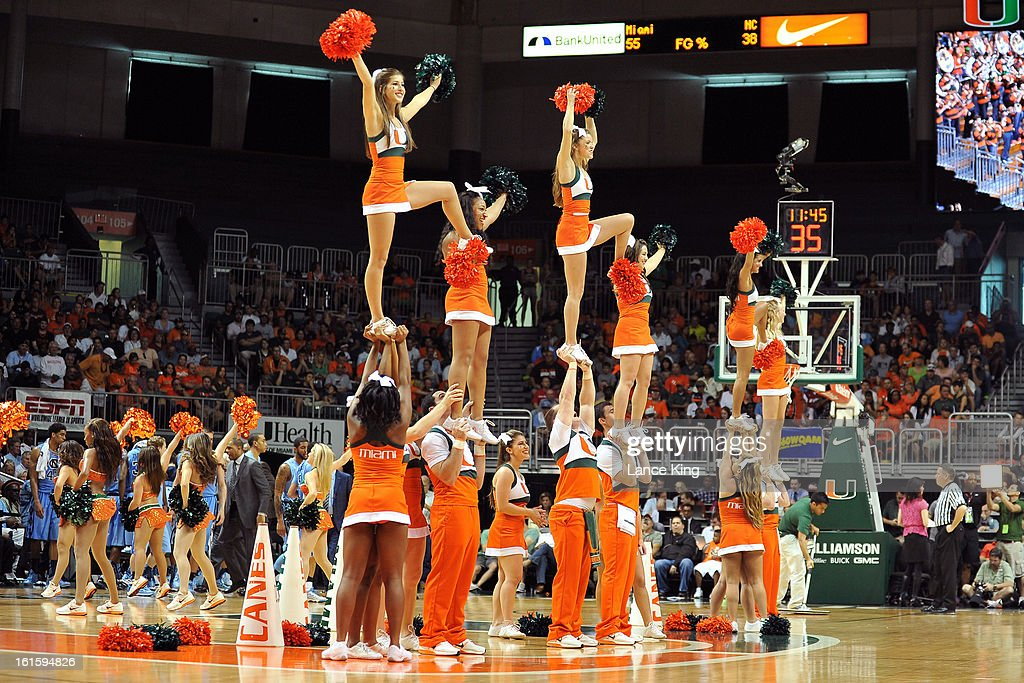 Cheerleaders of Miami Hurricanes perform during a game against the North Carolina Tar Heels at the BankUnited Center on February 9, 2013 in Coral Gables, Florida. Miami defeated North Carolina 87-61.