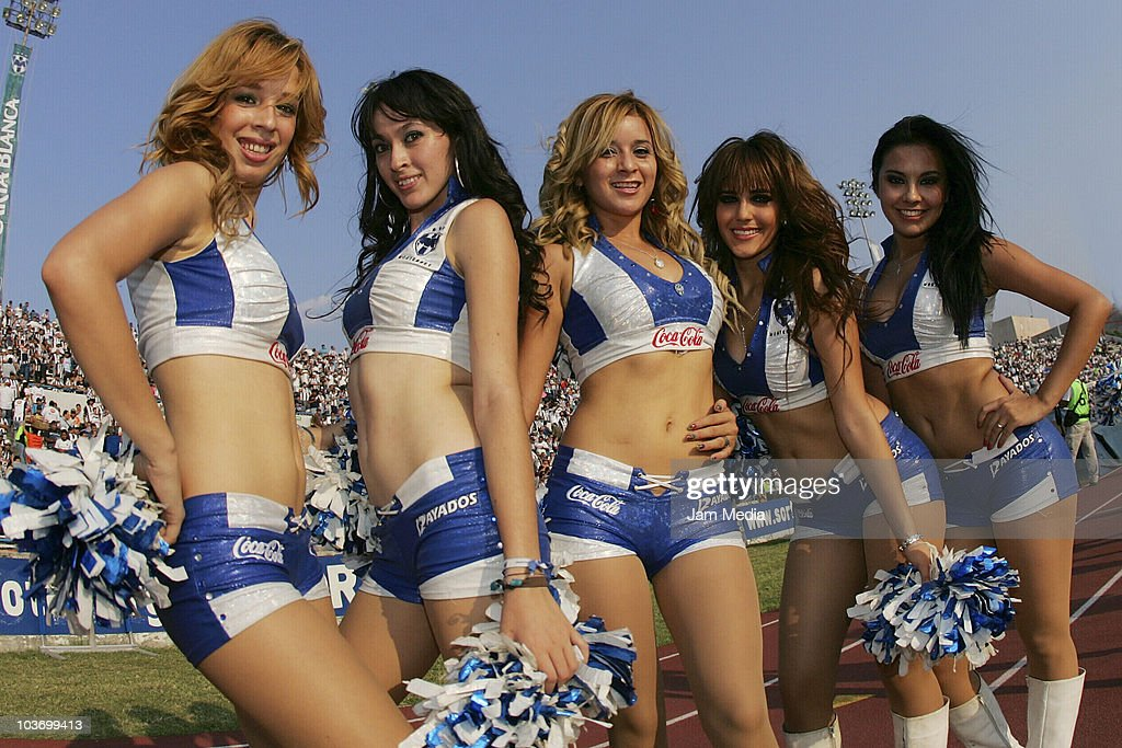 Cheerleaders of Monterrey pose for a photograph before a match against Jaguares as part of the Apertura 2010 at Tecnologico Stadium on August 28, 2010 in Monterrey, Mexico.