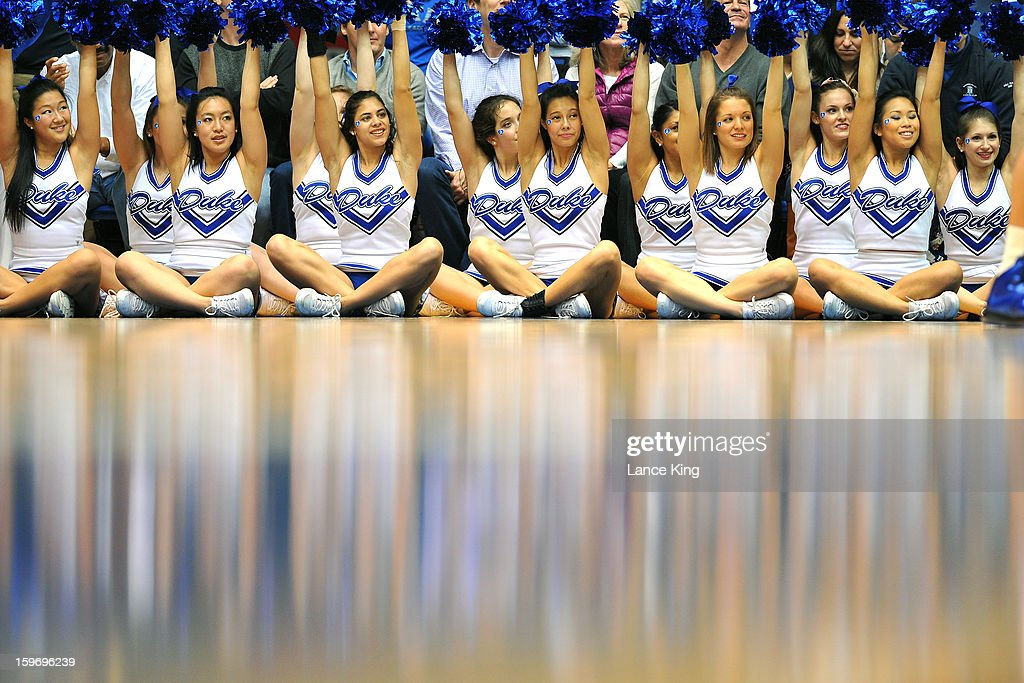 Cheerleaders of the Duke Blue Devils perform during a game against the Georgia Tech Yellow Jackets at Cameron Indoor Stadium on January 17, 2013 in Durham, North Carolina. Duke defeated Georgia Tech 73-57.