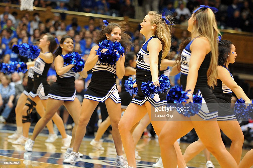 Cheerleaders of the Duke Blue Devils perform during a stop in play against the Florida Gulf Coast Eagles at Cameron Indoor Stadium on November 18, 2012 in Durham, North Carolina. Duke defeated Florida Gulf Coast 88-67.