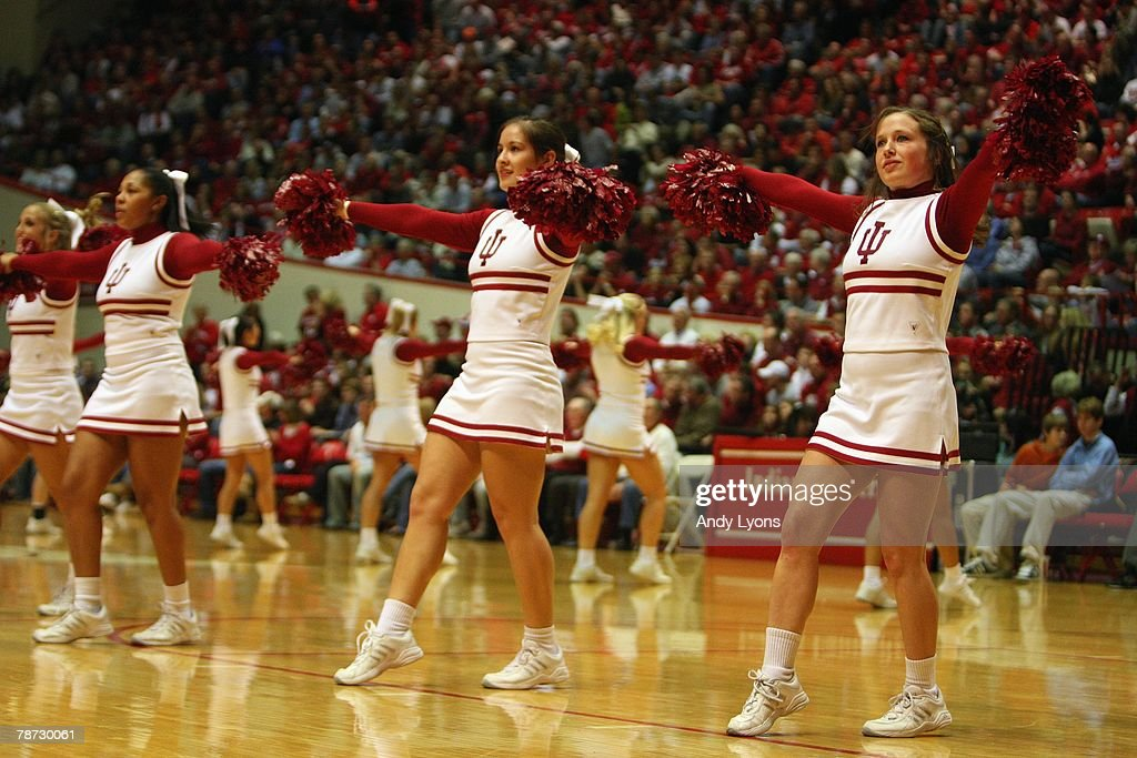 Cheerleaders of the Indiana Hoosiers enteratin the crowd during the game against the Chicago State Cougars at Assembly Hall on December 29 2007 in...