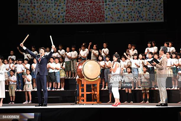 Cheerleaders of the Japanese Olympic team Syuzo Matsuoka and Ruriko Kojima attend the sendoff event for the Japanese national team for Rio 2016...