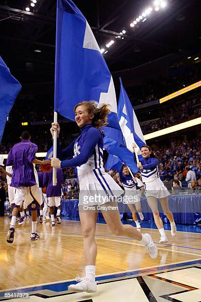 Cheerleaders of the Kentucky Wildcats cheer before the game against the Louisiana State University Tigers during the second round of the SEC Men's...