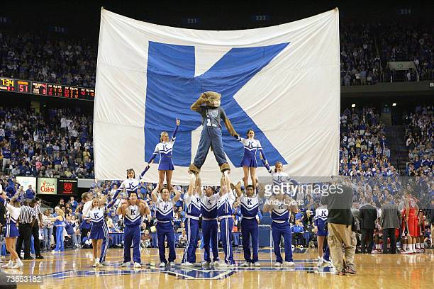 Cheerleaders of the Kentucky Wildcats perform on the court against the Georgia Bulldogs on February 28 2007 at Rupp Arena in Lexington Kentucky