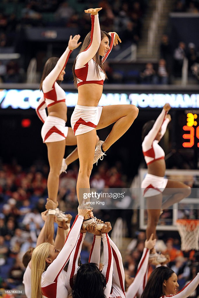 Cheerleaders of the Maryland Terrapins perform during a game against the Wake Forest Demon Deacons during the first round of the 2013 Men's ACC Tournament at the Greensboro Coliseum on March 14, 2013 in Greensboro, North Carolina. Maryland defeated Wake Forest 75-62.