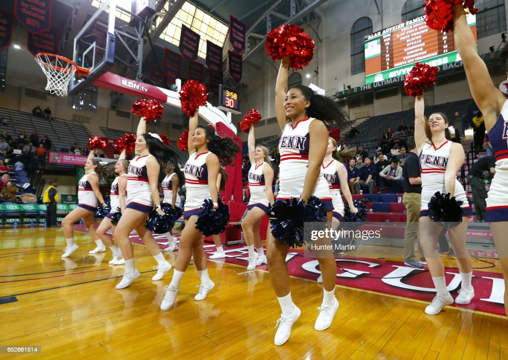 Cheerleaders of the Penn Quakers perform during a game against the Princeton Tigers at The Palestra during the championship final of the Ivy League Women's Basketball Tournament on March 12, 2017 in Philadelphia, Pennsylvania. Penn won 57-48.