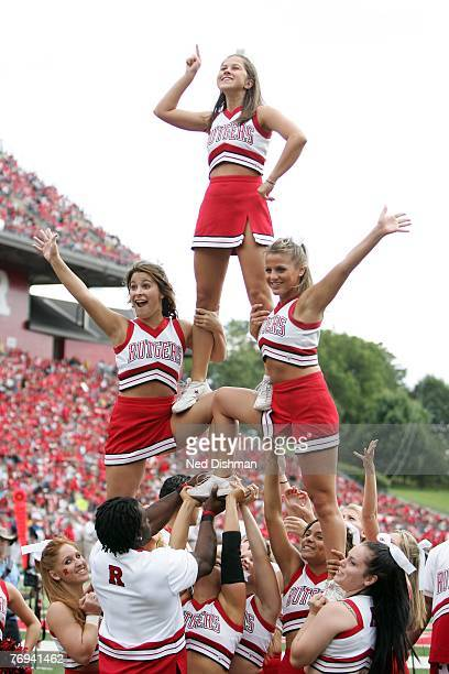 Cheerleaders of the Rutgers University Scarlett Knights make a formation during game against the Norfolk State Spartans on September 15 2007 at...