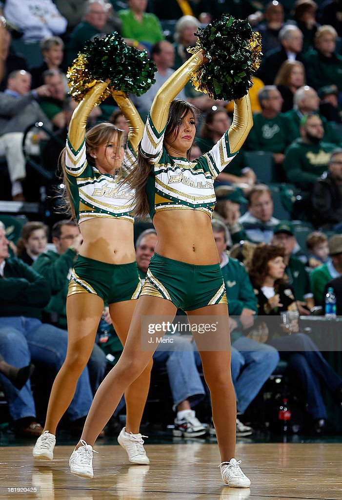 Cheerleaders of the South Florida Bulls perform against the Louisville Cardinals during the game at the Sun Dome on February 17, 2013 in Tampa, Florida.