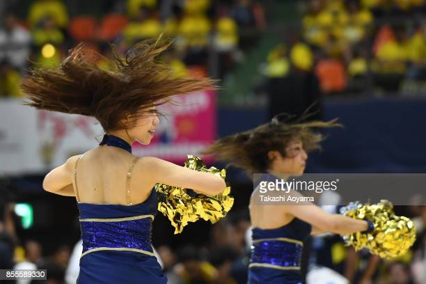 Cheerleaders of the Tochigi Brex perform during the BLeague game between Tochigi Brex and Seahorses Mikawa at Brex Arena Utsunomiya on September 29...