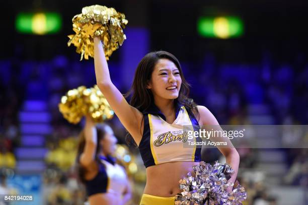 Cheerleaders of the Tochigi Brex perform during the BLeague Kanto Early Cup 3rd place match between Kawasaki Brave Thunders and Tochigi Brex at...