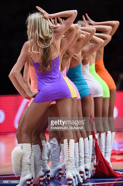 Cheerleaders perform between quarter times during the classification basketball match between the Czech Republic and Italy at the EuroBasket 2015 in...