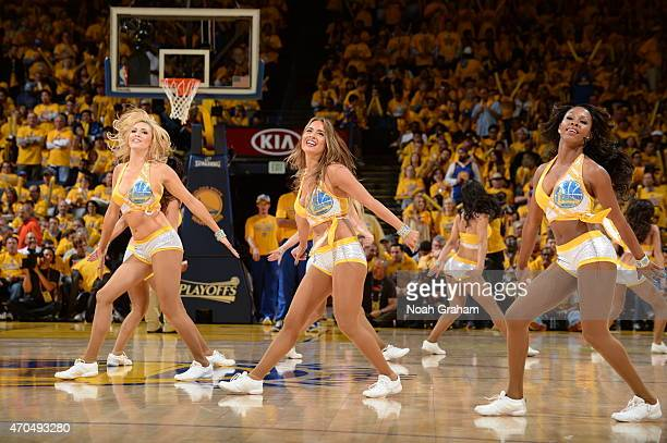 Cheerleaders perform during Game Two of the Western Conference Quarterfinals between the Golden State Warriors and the New Orleans Pelicans during...