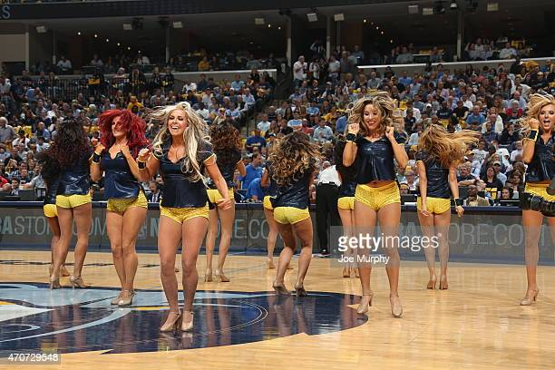 Cheerleaders perform during Game Two of the Western Conference Quarterfinals between the Memphis Grizzlies and the Portland Trail Blazers during the...