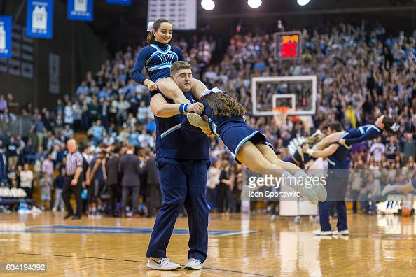 Cheerleaders perform during the college basketball game between the Georgetown Hoyas and the Villanova Wildcats on February 9 2017 at The Pavilion in...