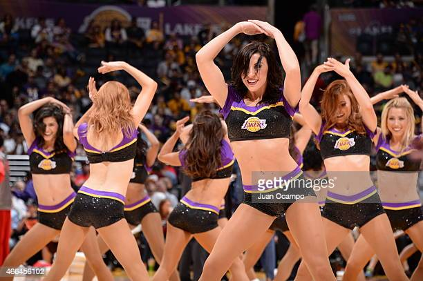 Cheerleaders perform during the game between the Atlanta Hawks and Los Angeles Lakers on March 15 2015 at Staples Center in Los Angeles California...
