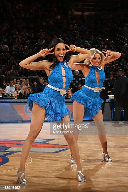 Cheerleaders perform during the game between the Indiana Pacers and New York Knicks on April 8 2015 at Madison Square Garden in New York City NOTE TO...