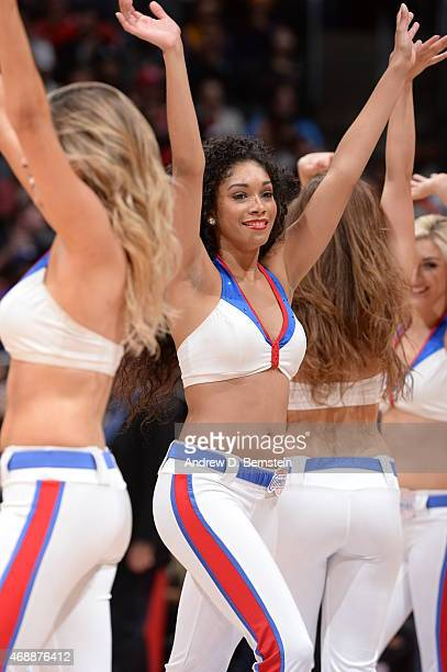 Cheerleaders perform during the game between the Los Angeles Clippers and the Los Angeles Lakers on April 7 2015 at Staples Center in Los Angeles...