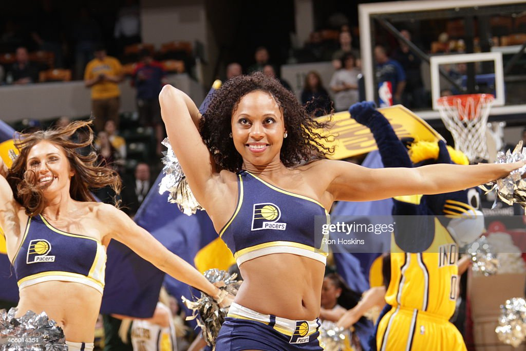 Cheerleaders perform during the game between the Milwaukee Bucks and Indiana Pacers on March 12, 2015 at Bankers Life Fieldhouse in Indianapolis, Indiana.