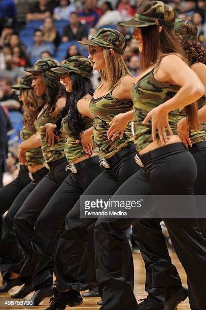 Cheerleaders perform during the game between the Orlando Magic and the New York Knicks on November 25 2015 at Amway Center in Orlando Florida NOTE TO...