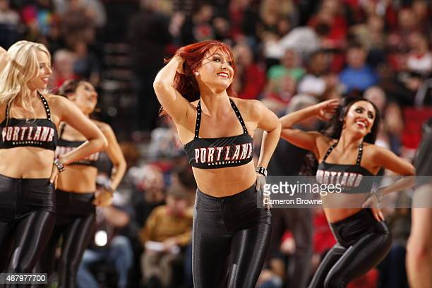 Cheerleaders perform during the game between the Portland Trail Blazers and the Denver Nuggets on March 28 2015 at the Moda Center in Portland Oregon...