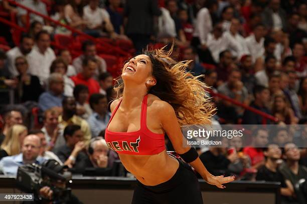 Cheerleaders perform during the game between the Sacramento Kings and Miami Heat on November 19 2015 at AmericanAirlines Arena in Miami Florida NOTE...