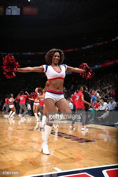 Cheerleaders perform during the game in Game Four of the Eastern Conference Semifinals between the Washington Wizards and the Atlanta Hawks during...