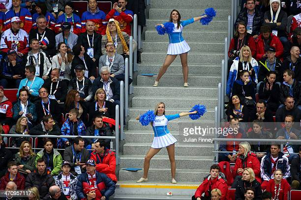 Cheerleaders perform during the Men's Ice Hockey Semifinal Playoff between Canada and the United States on Day 14 of the 2014 Sochi Winter Olympics...