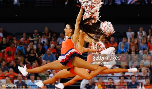 Cheerleaders perform during the round six NBL match between the Cairns Taipans and Melbourne United at Cairns Convention Centre on November 9 2017 in...