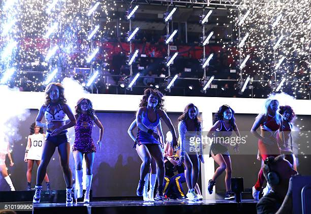 NBA cheerleaders perform in the Taco Bell Skills Challenge during NBA AllStar Weekend 2016 at Air Canada Centre on February 13 2016 in Toronto Canada...
