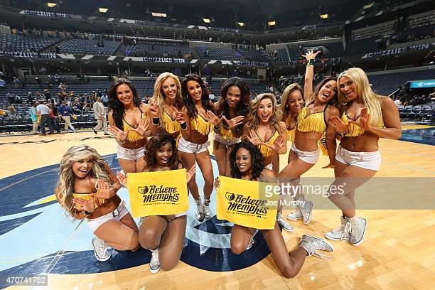 Cheerleaders pose after Game Two of the Western Conference Quarterfinals between the Memphis Grizzlies and the Portland Trail Blazers during the 2015...