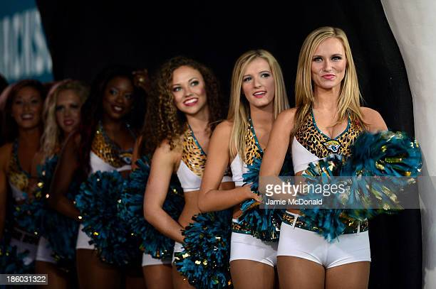 Cheerleaders wait to perform ahead of the NFL International Series game between San Francisco 49ers and Jacksonville Jaguars at Wembley Stadium on...