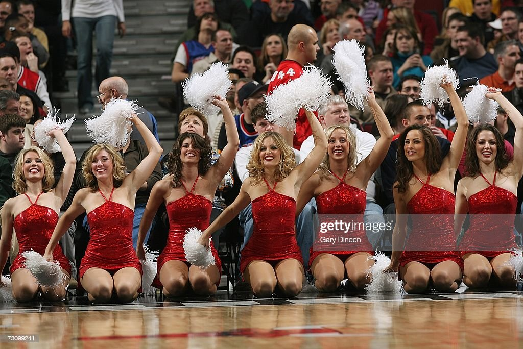Cheerleaders with the Chicago Bulls perform during the game against the Detroit Pistons at the United Center on January 6, 2007 in Chicago, Illinois. The Bulls won 106-89.