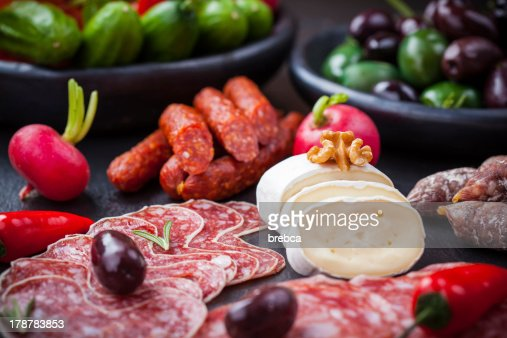 Cheese and Antipasti : Stock Photo