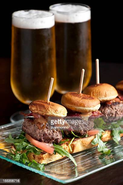 Cheese and bacon burger sliders and beer