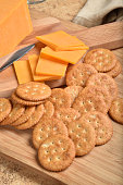 Overhead view of cheese and crackers