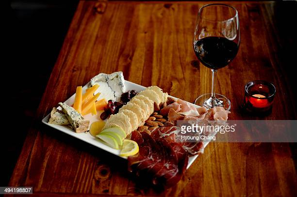 Cheese and Meat Neighbors Wine Bar in Park Hill Denver Colorado May 28 2014 Cheese Cabrales 'blue' Chimay and First Snow Meat Bresaola Prosciutto and...