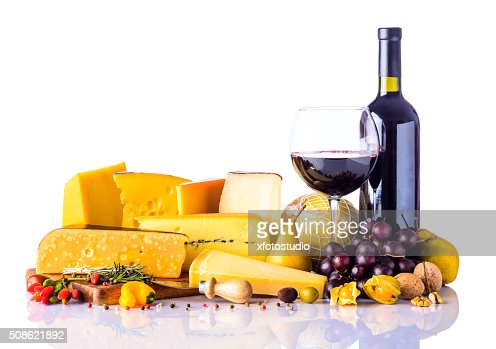 Cheese and Wine on White Background : Stock Photo