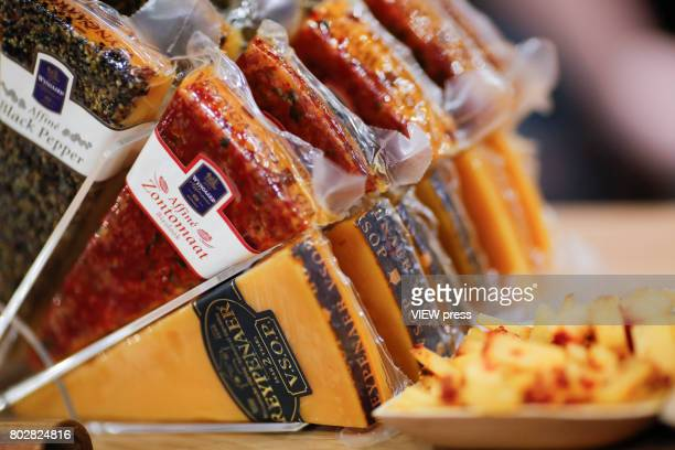 Cheese are displayed at the Annual Summer Fancy Food Show on June 262017 at the Javits Center in New York City