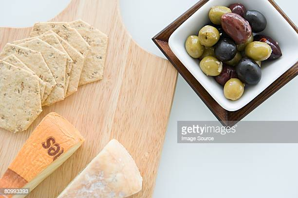 Cheese board and olives