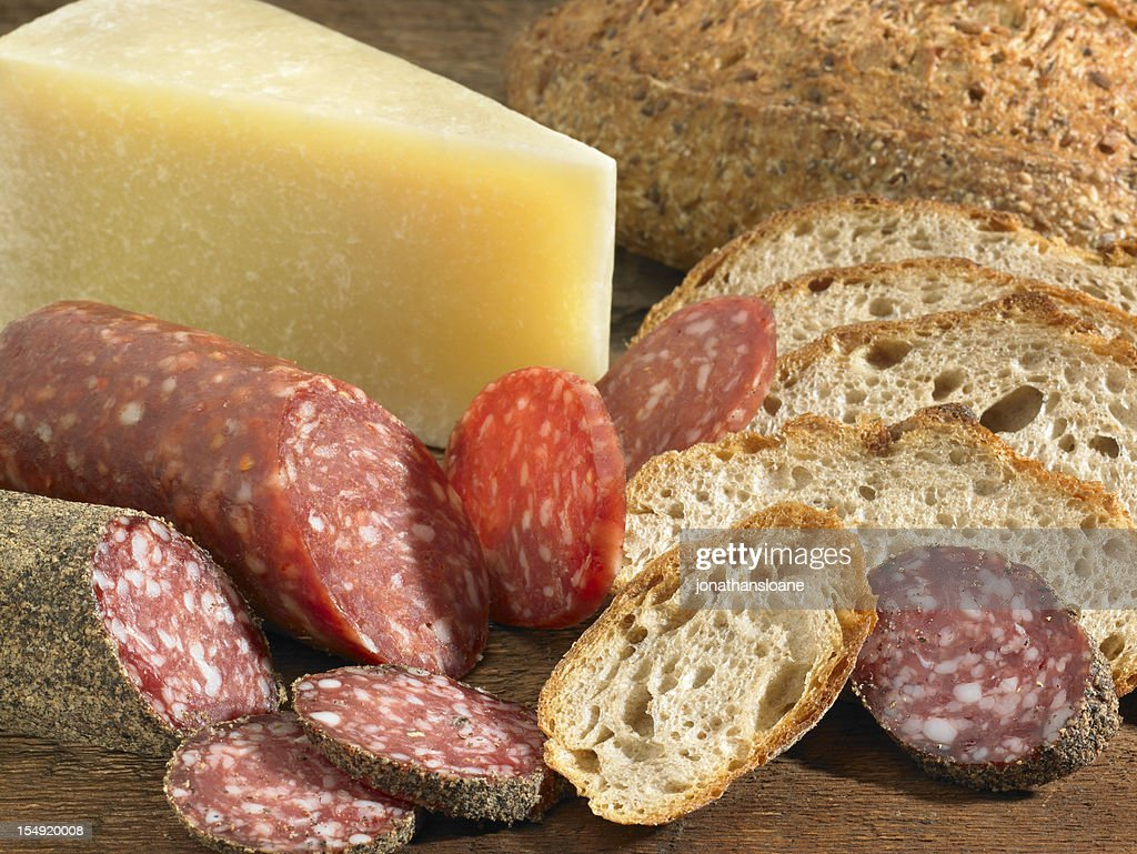 Cheese, bread and sausage