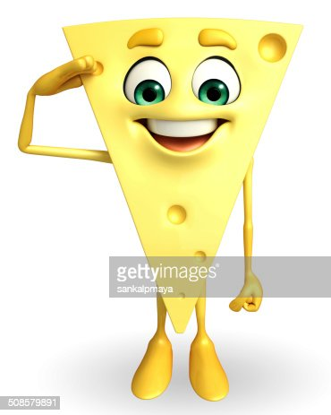 Cheese Character with salute pose : Stock Photo