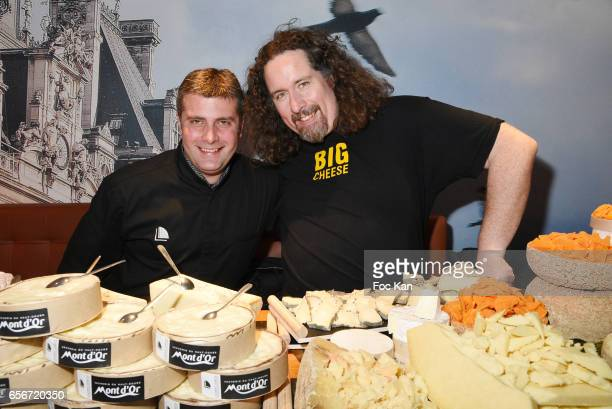 Cheese chefs Theo Michel and Xavier Thuret attend 'Apero Mecs A Legumes' Party Hosted by Grand Seigneur Magazine at the Bistrot Marguerite on March...