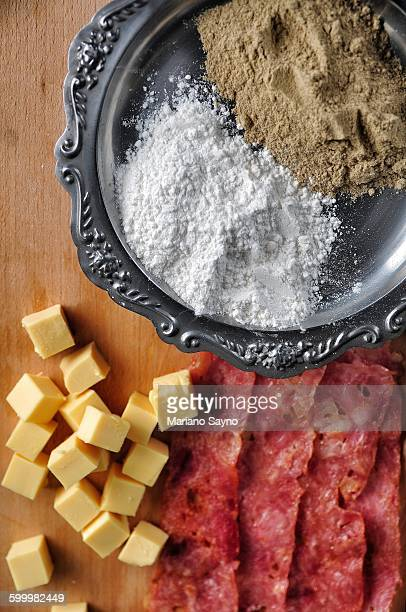 Cheese Cubes, Bacon Strips, Flour and Ground Pep