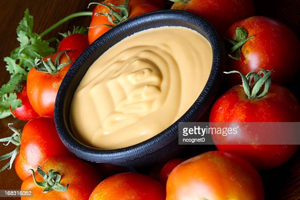 Cheese dip with garden tomatoes