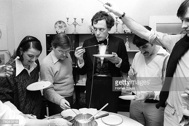 A cheese fondue party in Southfields South London 1983 This group of friends all went on to become successful as an international lawyer merchant...