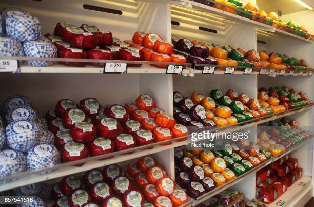 Cheese for sale at a cheese factory in the small town of Delft Holland Netherlands Europe